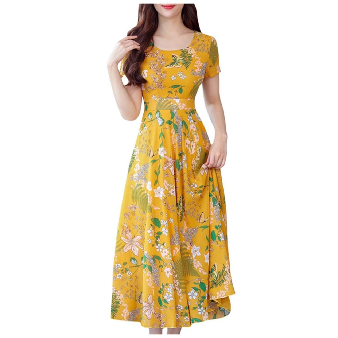 Available at Amazon: Women's Fashion Elegant Beach Printing Boho Style Short Sleeve Maxi Beach Dress Sopzxclim