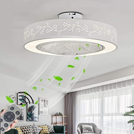 Ventilateur De Plafond Avec LED Lampe,72W LED Dimmable Moderne Plafonnier Lumière,Vitesse Du Vent Réglable,Avec Télécommande,Restaurant Chambre Décoration Intérieure Éclairage Du Ventilateur, Ø55cm,A