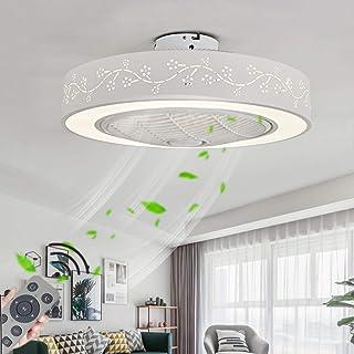 LED Ventilatori da Soffitto Silenzioso con luce 3 Velocit/à Regolabile Dimmerabili Lampada a Soffitto Rotondo Plafoniera Cristallo 72W Telecomando /Ø 50 * 28cm 1//2//4H Temporizzatore