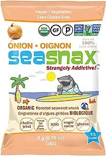 SeaSnax Organic Roasted Seaweed Snack Onion, 0.18 oz (Pack of 6)