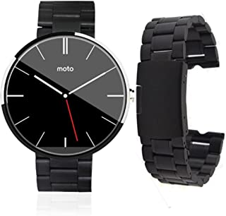 MOSTOP 17022mm Stainless Steel Watch Band with Spring Bar Pin for Motorola Moto 360 [1st Gen] Smart Watch