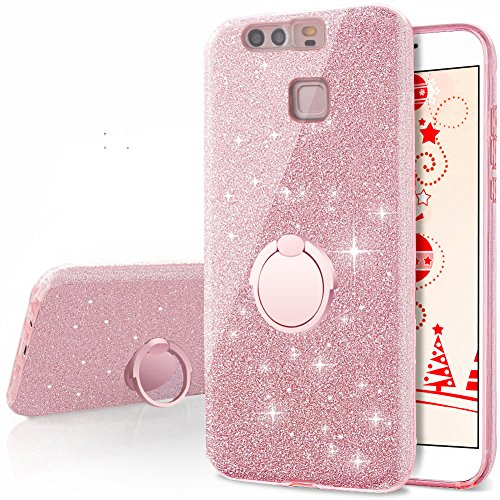 Huawei P9 Case, Silverback Girls Bling Glitter Sparkle Cute Phone Case with 360 Rotating Ring Stand, Soft TPU Outer Cover + Hard PC Inner Shell Skin for Huawei P9 -Rose Gold