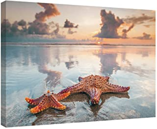 SUMGAR Canvas Wall Art Bathroom Beach Paintings Ocean Coastal Pictures Orange Prints Artwork Starfish Decor,24x16 inch