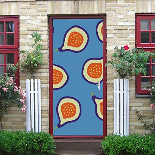 DUKAI Moderne Kunst 3D Tür Aufkleber, Muster Feigen Blau Saftige Feigen Schälen Und Stick Abnehmbare Vinyl Tür Aufkleber Für Wohnkultur, 30,3