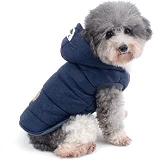 Ranphy Winter Padded Dog Vest Coat Hoodies Cat Puppy Cold Weather Coats Jacket for Small Dog Under 20lbs (Size Runs Small One to Two Size Than US Size)