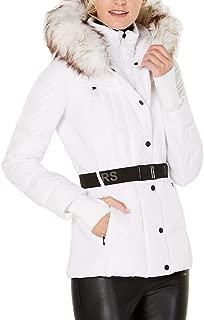 Women's Logo Belted Hood Faux Fur Trim Puffer Coat White