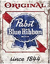 YOMIA Metal Beer Signs for Pabst Blue Ribbon Sign, Decorative Plates for Wall Hanging Beer Retro Metal Tin Signs Poster Home Bar Plate Wall Decor 30x30cm