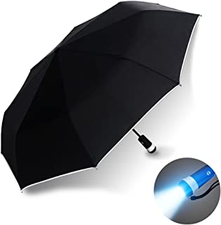 Automatic Windproof Compact Travel Black Umbrella, LED Light and Reflective Edge
