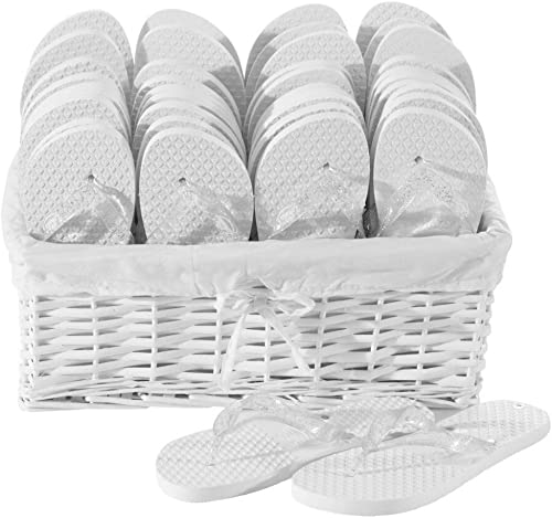 Zohula Mariage Tongs Blanc Party Pack 20 Paires Mixte - - 10 x 35-37 (S), 10 x 38-39 (M)  derniers styles