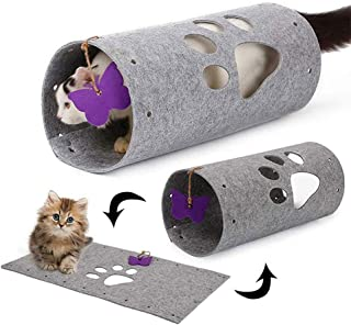 AUOKER Cat Tunnel, Collapsible Cat Cube Toy with Butterfly Shape Teaser - Non-Toxic