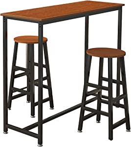 soges Bar Table Set, Bistro Bar Table and Chairs Sets, Pub Dining Height Bar Stools, Bar Table with 2 Bar Stools, Breakfast Bar Table and Stool Set, Oak DX-Z666-OK