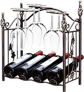 Wine Glass Holder Bronze Baroque Vintage Design Wine Stand Metal Freestanding Goblet Storage Rack Wine Glass Holder 4 Bottles and 6 Cups Suitable for Family Bars