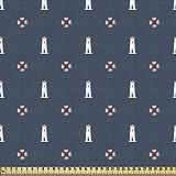 ABAKUHAUS Faro Tela por Metro, Boyas De Vida Náuticas, Decorativa para Tapicería y Textiles del Hogar, 1M (148x100cm), Gasolina Azul Blanco Rojo
