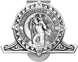 Rosemarie's Religious Gifts Pewter St Christopher Compass Medal Auto Visor Clip