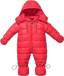 ZOEREA Baby Mädchen Schneeanzug Daunenanzug Daunenmantel Strampler Winter Babybekleidung für 0-18 MonateRot, Etikette 110