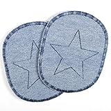 Knieflicken Jeans hellblau Flicken zum aufbügeln blauer Stern 10 x 8 cm Buegelflicken 2 Hosenflicken Aufbügler schlichte Bügelbilder, Applikationen für Kinder zum aufnähen geeignet