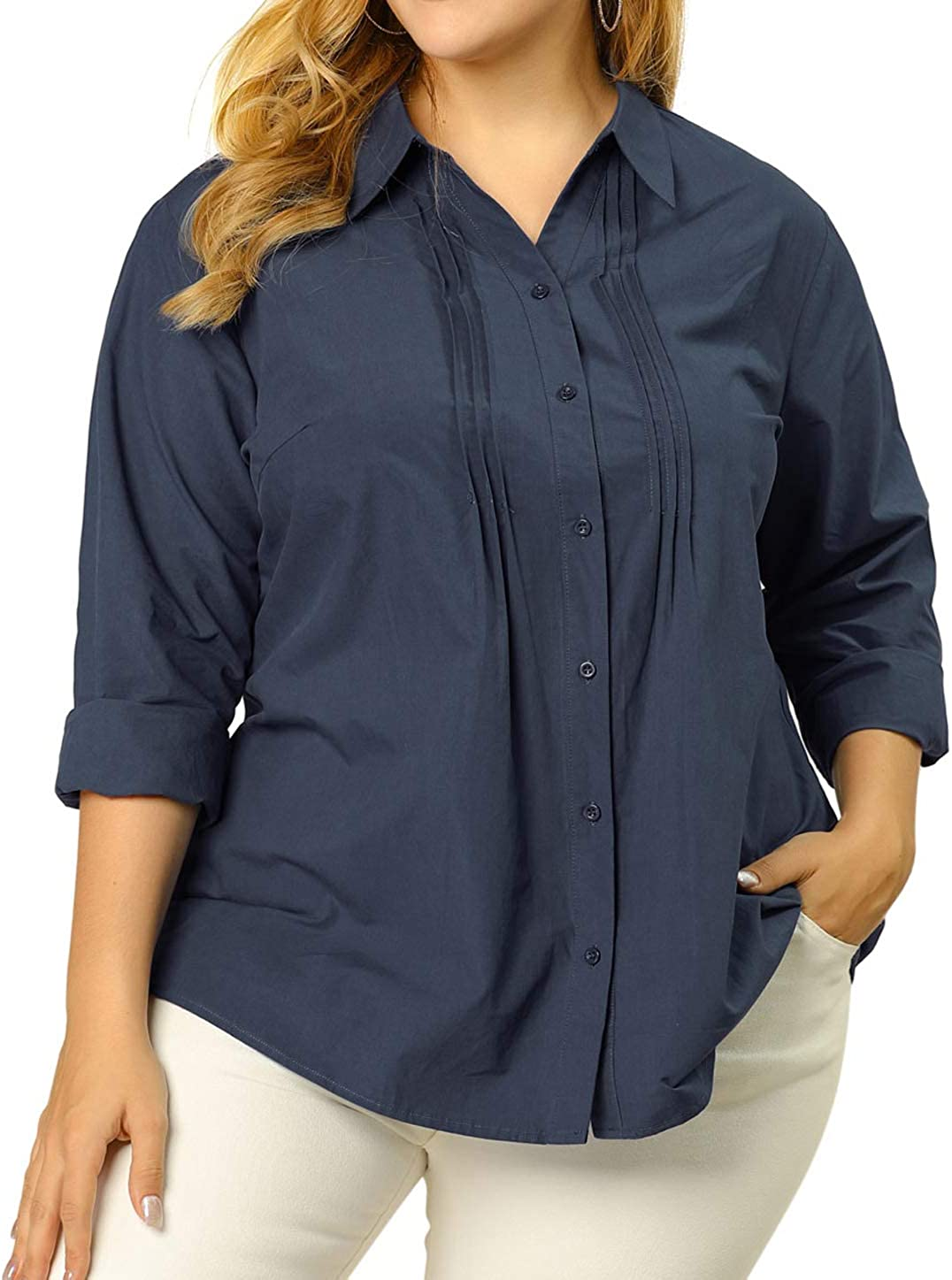 Agnes Orinda Women's Plus Size Shirt Top Stand Collar Front Pleated Work Button Down Shirt Tops Mothers Day