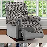 SOFA SHIELD Original Patent Pending Reversible Large Recliner Protector, Seat Width to 28 Inch, Furniture Slipcover, 2 Inch Strap, Reclining Chair Slip Cover Throw for Pets, Recliner, Diamond Charcoal