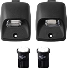 HERCOO LED License Plate Light Lamp Lens White Bulbs Black Truck Rear Housing Compatible with 2005-2015 Toyota Tacoma 2002-2013 Tundra Pickup Truck Rear Step Bumper Aftermarket Repalcement, Pack of 2