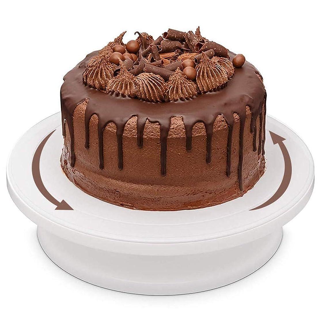 権限を与える発音オーバーランケーキスタンド 回転板キッチンDIYベーキングツール焼き型ケーキターンテーブル回転アンチスキッドラウンドケーキを飾るスタンド パーティー、家族の集まりに最適 (Color : White, Size : One size)