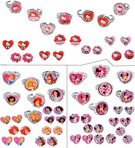 alles-meine.de GmbH Set _ 7 Stück verstellbare Ringe + 7 Paar Ohrring Sticker - Hello Kitty + Minnie Mouse + Princess - für Kinder Mädchen Schmuck Kinderringe - Katze rosa Ohrrin..