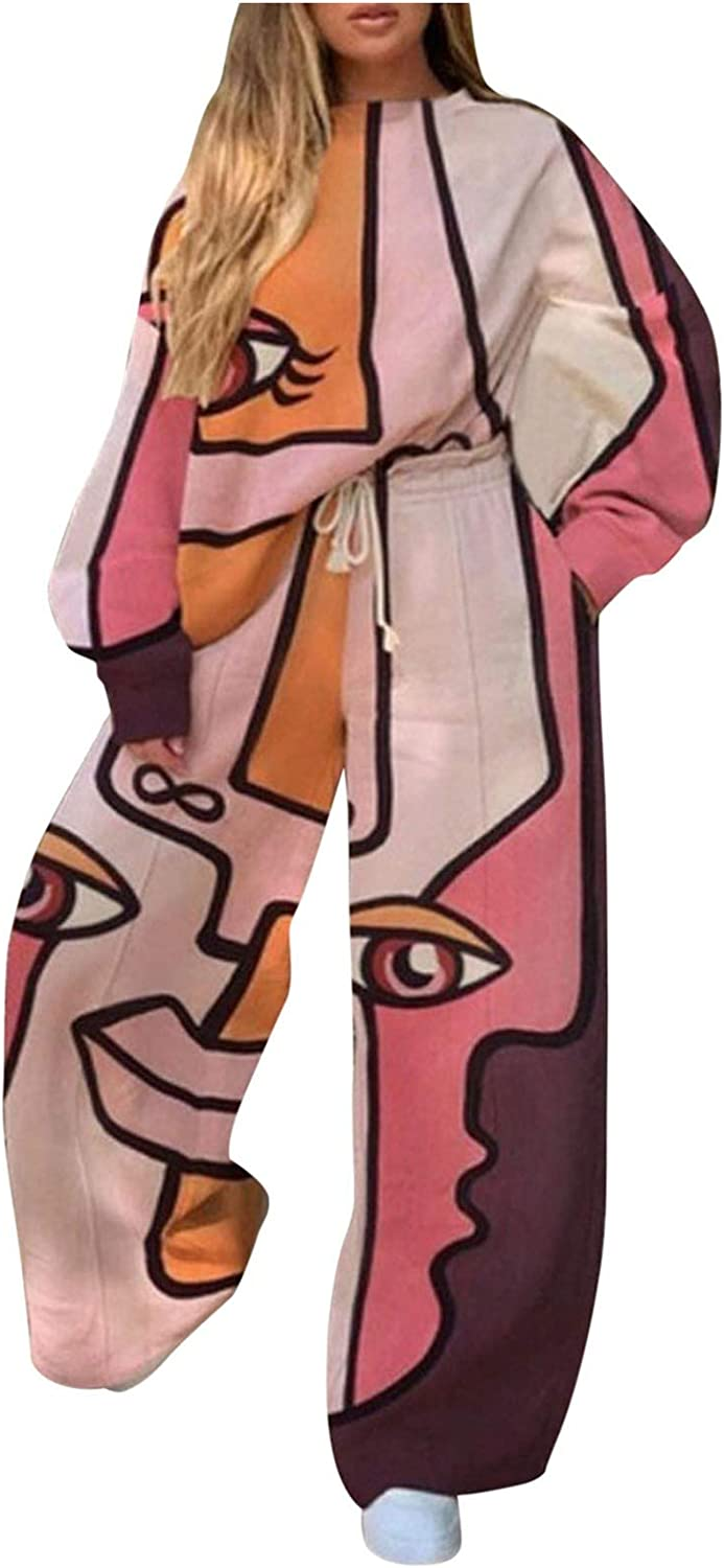 Women 2 Piece Party Suits Trendy Patterns Long Sleeve Tracksuits Casual Lantern Sleeve with Wide Leg Pants for Winter