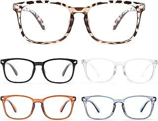 BLS 5 Pack Reading Glasses Blue Light Blocking, Fashion Square Nerd Computer Readers Anti UV/Eye Strain/Glare Women/Men