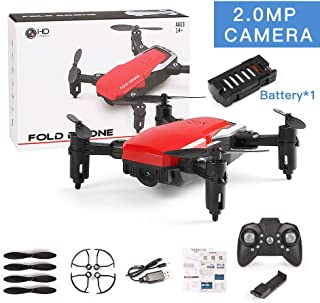 PinShang LF606 Mini Drone with Camera Altitude Hold RC Drones with Camera HD WiFi FPV Quadcopter Dron RC Helicopter VS Z1, JDRC JD-16, HDRC D2, SM M1 2.0MP Camera WiFi Red