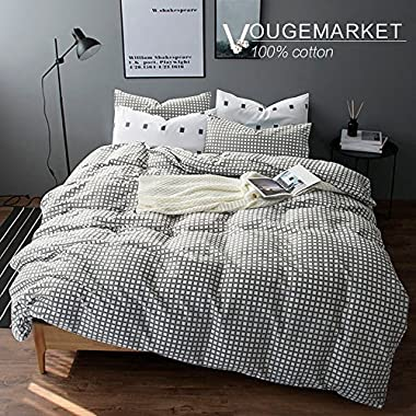 VM VOUGEMARKET 3pcs Duvet Cover Set King,Plaid Gird Duvet Cover Matching 2 Pillow Shams,Gingham Bedding Set-King,Style 2