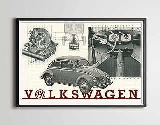 Volkswagen Beetle Full-Size POSTER! - 1950/1951 - VW - Bug - Vintage Cars - Antique - Custom Prints