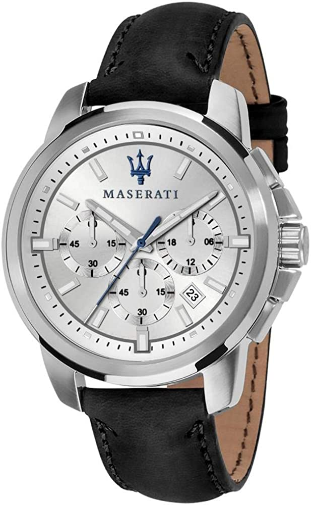 Maserati orologio da uomo, collezione successo cronografo, in acciaio e cuoio 8033288837473