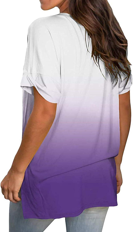 Anu Linen Gradient Plus Size Tops for Women, V-Neck Short Sleeve Tops Women Summer Causal Loose T-Shirt Tops Casual