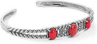 American West Sterling Silver Red Coral Gemstone Three Stone Friendship Cuff Bracelet Size Medium