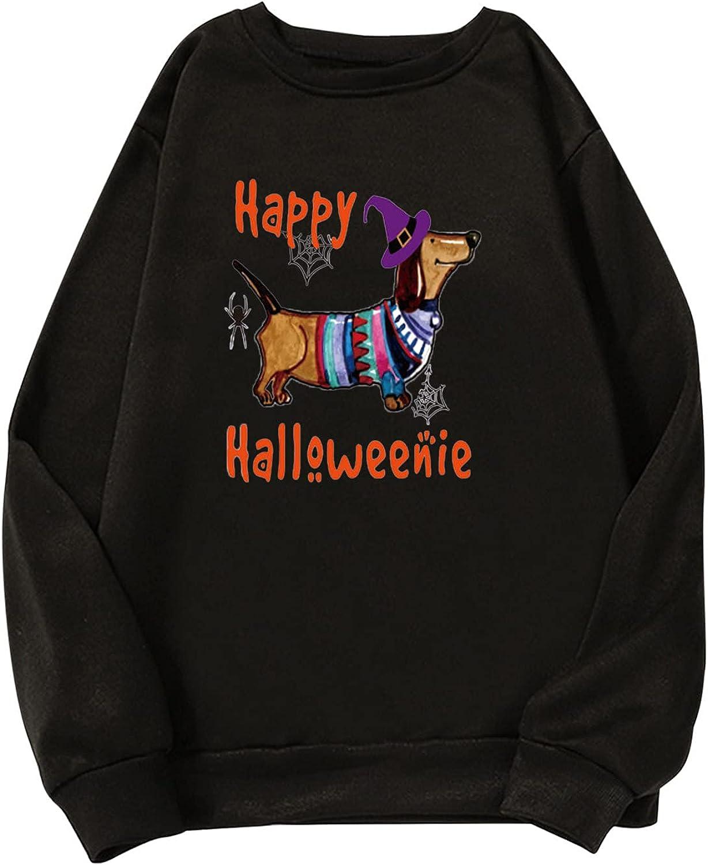 5665 Women Halloween Oversize Sweatshirt, Fashion Y2K Blouse Shirt Casual Witch Graphic Elegant T-Shirt Tunic Tops Pullover