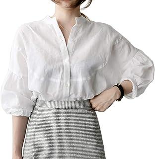 [サフィーブラウ] レディース 白 シャツ ブラウス ホワイト シンプル ゆったり シルエット
