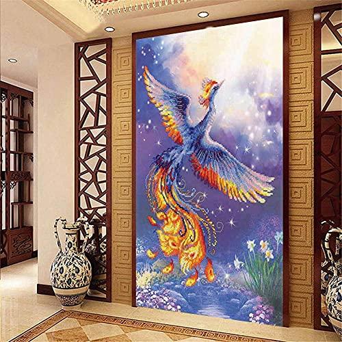 IF.HLMF DIY Phoenix 5D Diamante Pintura por número Kit Taladro Completo Bordado de Diamantes de imitación decoración de la Pared (50X90cm)