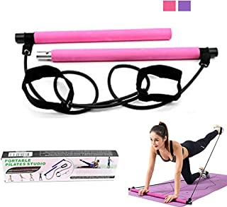 GHINNY Pilates Bar Kit -Exercise Pilates Bar with Foot Loopfor Total Body WorkoutYoga ResistancePilates Stick Muscle T...