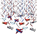 Howaf Avion Motif Anniversaire Décoration Suspensions Tourbillons Guirlande de Plafond pour Bébé Filles garçons Enfants d'anniversaire Décorations Fournitures