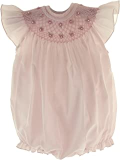 Girls Pink Smocked Angel Wing Sleeve Bubble Outfit
