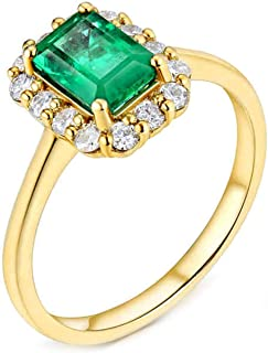 ButiRest - Anello in oro giallo 18 carati 750 con 4 denti taglio smeraldo 0,9 ct verde smeraldo VS e diamante 0,35 ct