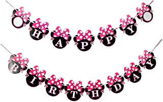 Perfec Arts Cartoon Minnie Bow Happy Birthday Party Supplies Decoration Banner(Round)