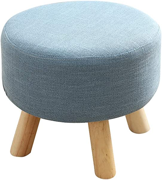 Round Large Wood Footstool Upholstered Ottoman Pouffe Stool Change Shoe Bench For Foyer 4 Legs And Linen Cover Blue
