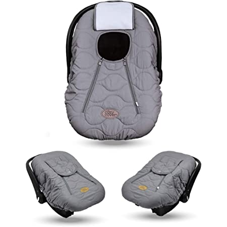 Cozy Cover Infant Car Seat Cover (Gray Quilt) - The Industry Leading Infant Carrier Cover Trusted by Over 6 Million Moms Worldwide for Keeping Your Baby Cozy & Warm