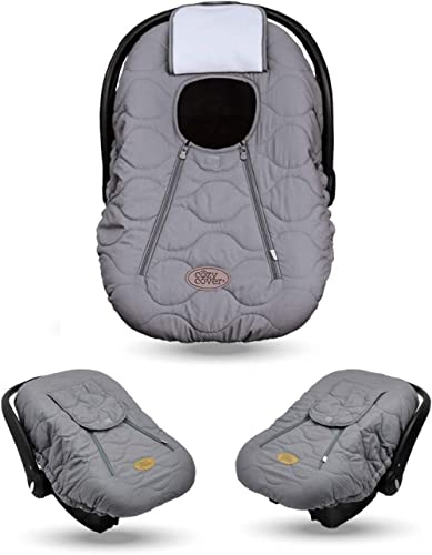 Cozy Cover Infant Car Seat Cover (Gray Quilt) - The Industry Leading Infant Carrier Cover Trusted by Over 6 Million M...