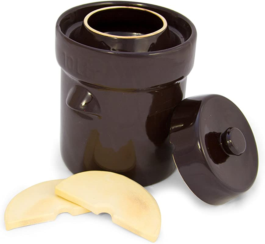 TSM Products 31061 German Style Fermentation Harvest Pot With Stone Weight 10 Liter