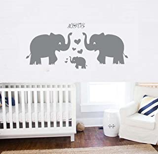 Elephant Wall Decal Family Wall Decal With Hearts And Butterfly Wall Decals  Baby Nursery Decor Kids