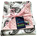 Reversible Unisex Children's Soft Baby Blanket Minky Dot (Choose Color) (Paisley Pink)