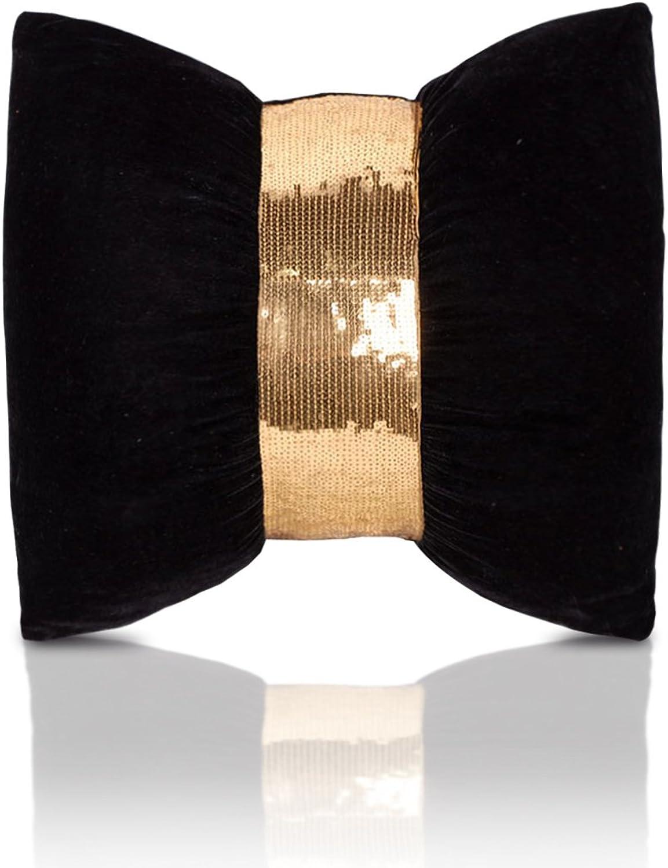 LAHUA The velvet Bow Tie stylish pillow with pillow cushion 45x45cm,45x45cm+, black