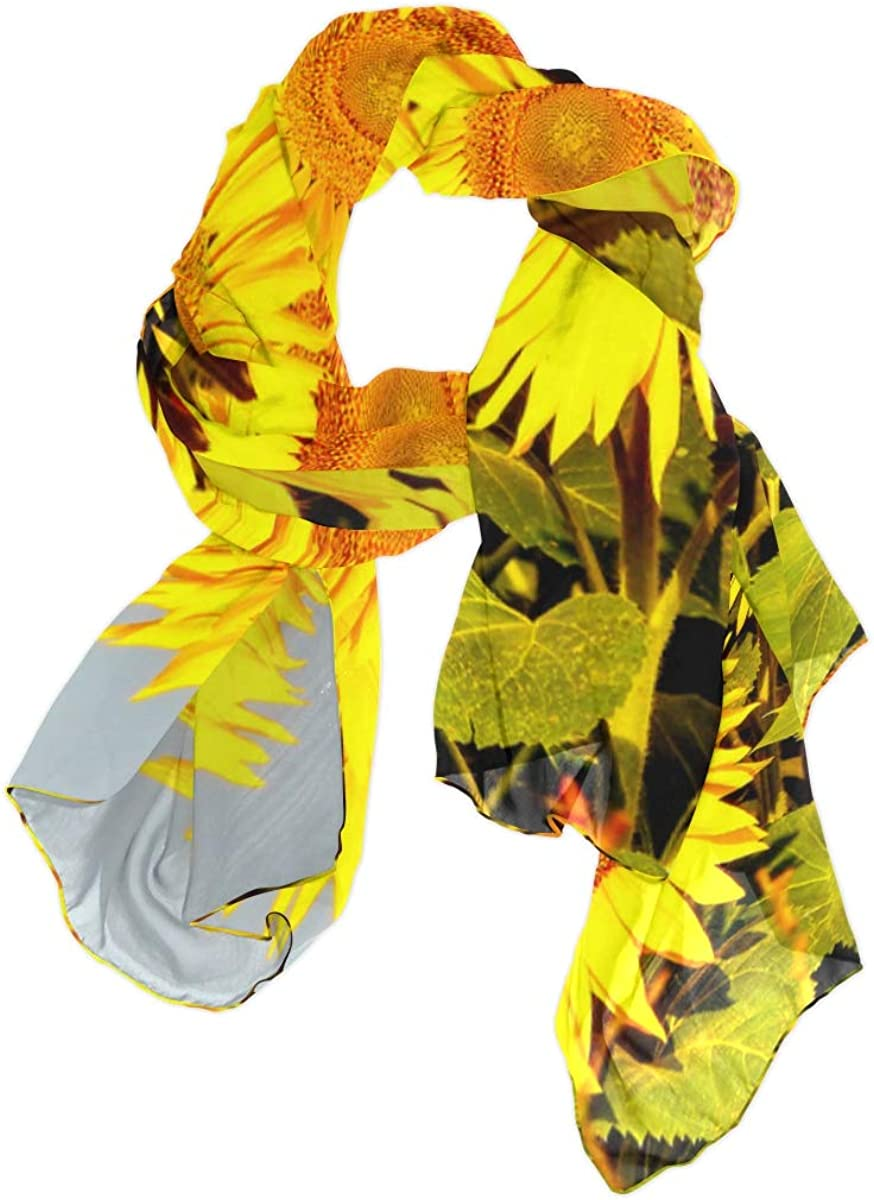 Brightly Colored Yellow Sunflower Unique Fashion Scarf For Women Lightweight Fashion Fall Winter Print Scarves Shawl Wraps Gifts For Early Spring