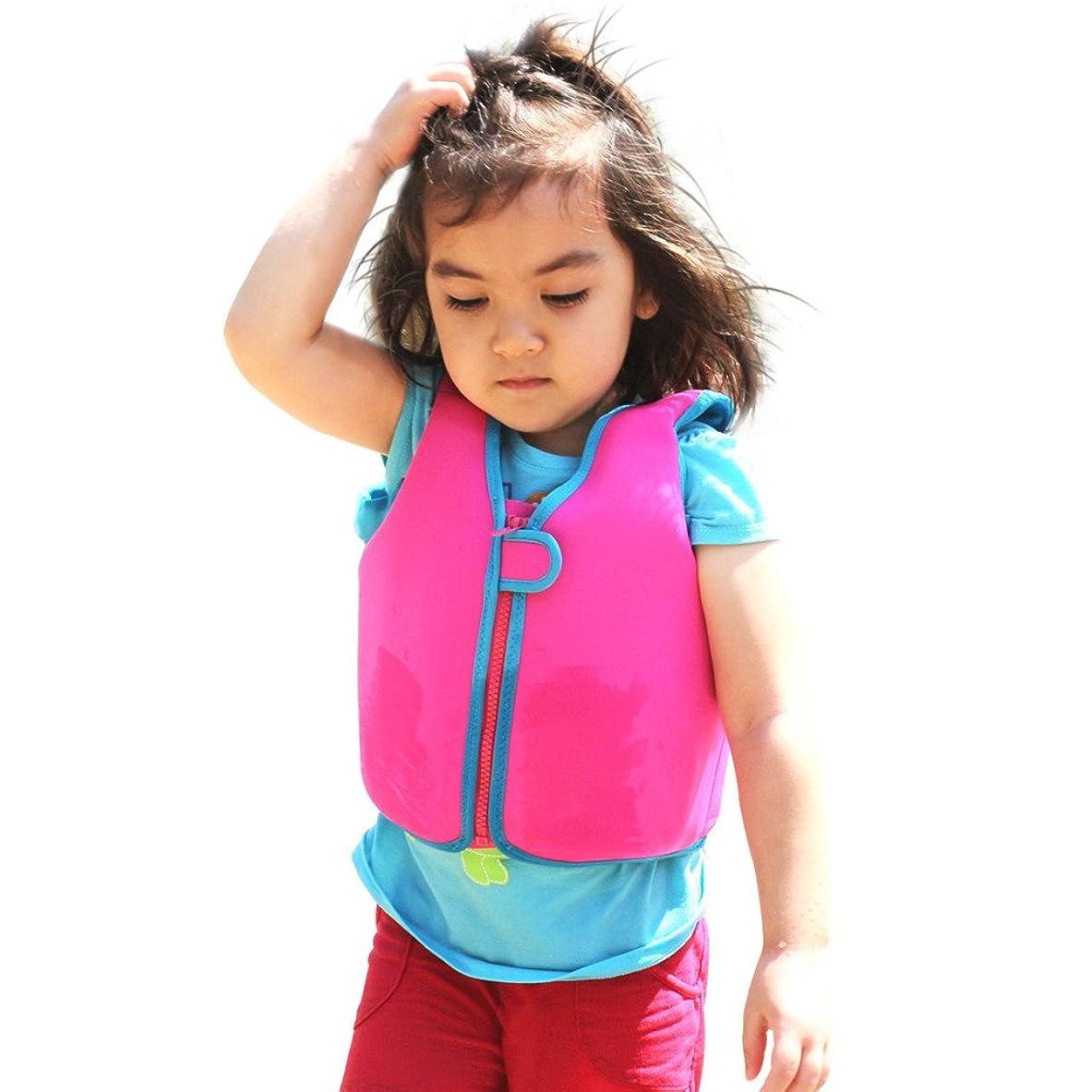 シェフ救援意図するフローティングベスト 子供用 スイムベスト 強い浮力 高い負荷力 安全安心 マリンスポーツ ジュニア 海 プール 釣り 海水浴 スイミング 水遊び、ピンク